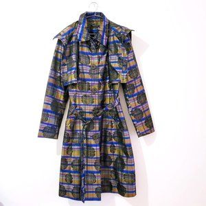 Samuel Dong Floral Plaid Trench Raincoat
